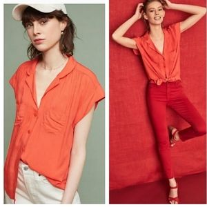 Anthropologie Maeve Raffine Blouse in Tangerine